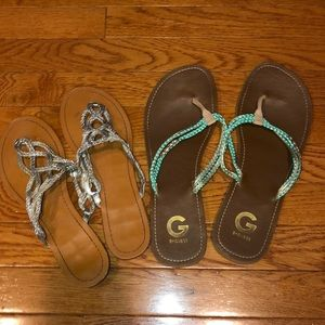 Bundle of G by Guess and boutique Flip flops